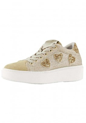 Sneaker, beige-gold-coloured