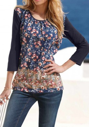Print shirt, navy-multicolour