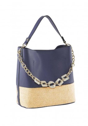 Bag with ornamental chain, navy-beige