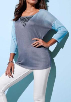 Fine knit sweater, blue-grey