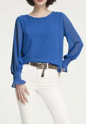 Chiffon jersey blouse, blue
