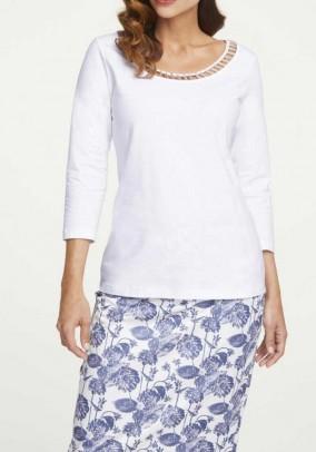 Jersey shirt with beads, ecru