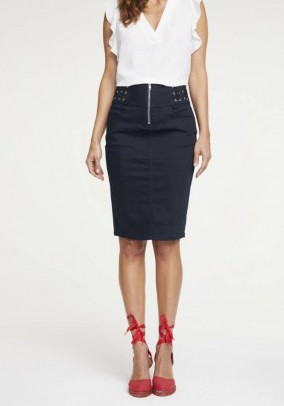 Skirt with lacing, midnight blue