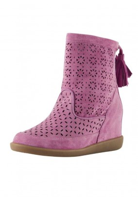 Velours bootie with cut-outs, pink