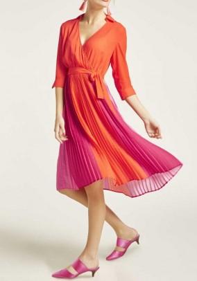 Pleat dress, orange-pink