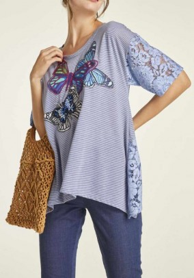 Jersey shirt with lace, blue-patterned