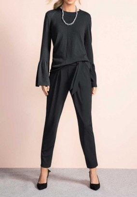 Paperbag trousers with belt, black