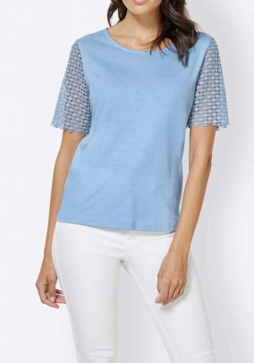 Shirt with lace, blue