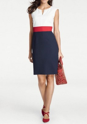 Sheath dress, navy-offwhite