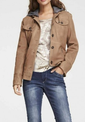 Two-in-one lamb nappa leather jacket with hood, camel