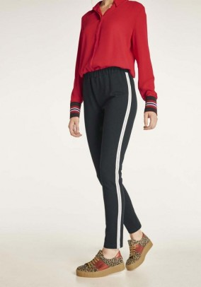 Jersey trousers with strass stipes, black