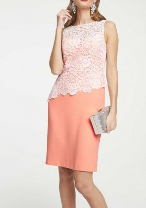Sheath dress with lace, peach
