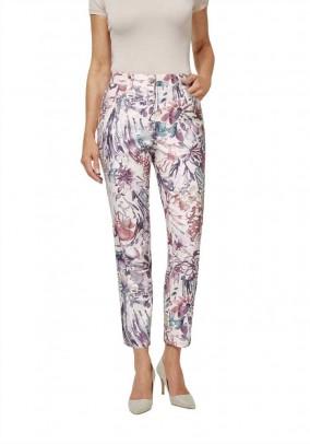 Print trousers, ecru-multicolour