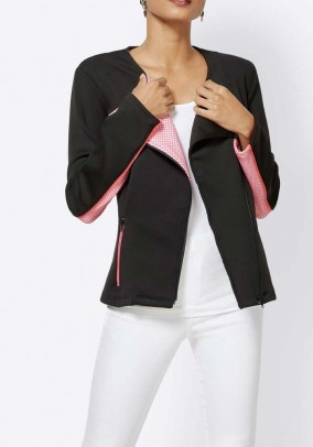 Jersey blazer with zipper, black-rose