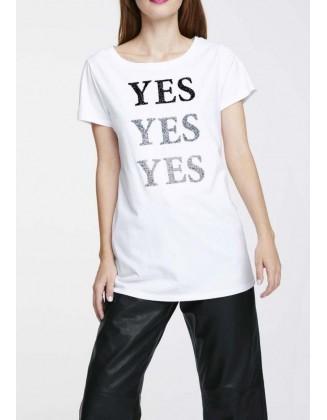 """Balti marškinėliai """"Yes"""""""