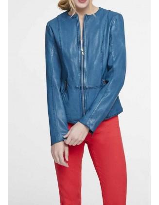 Ryškiai mėlyna odinė striukė