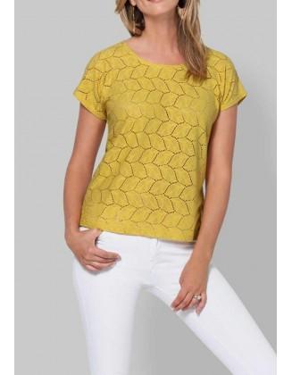 Didesnio dydžio geltona palaidinė