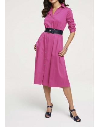 Rožinė midi suknelė su sagomis