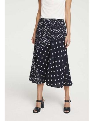 Juodas taškuotas midi sijonas