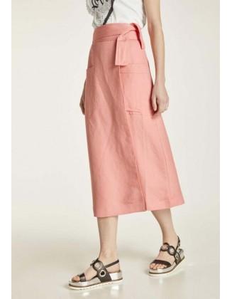 Susiaučiamas lininis midi sijonas