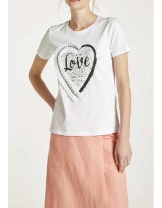 """Balti dekoruoti marškinėliai """"Love"""""""