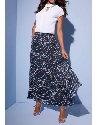 """Ilgas mėlynas sijonas """"Print"""""""