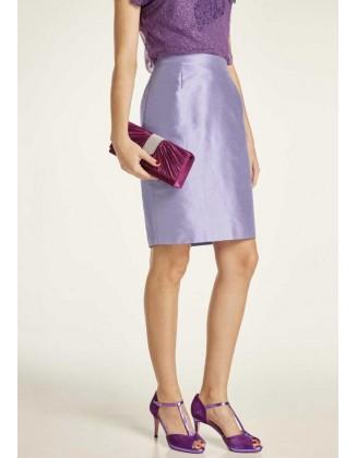 Šilkinis levandų spalvos sijonas