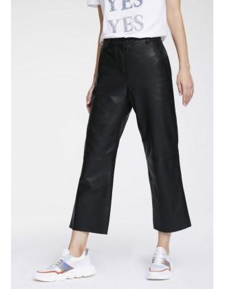 Juodos odinės capri kelnės