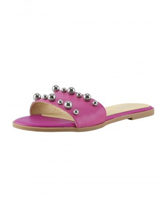 Rožinės odinės mulės su perlais
