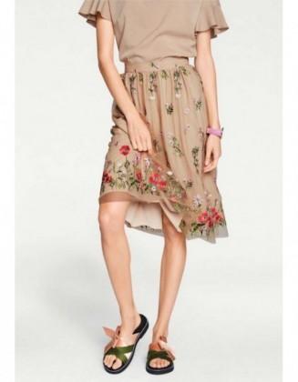 Smėlinis siuvinėtas sijonas
