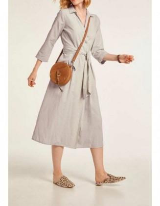 Smėlinė lininė suknelė su diržu