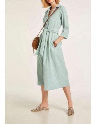 Žalsva lininė suknelė su diržu