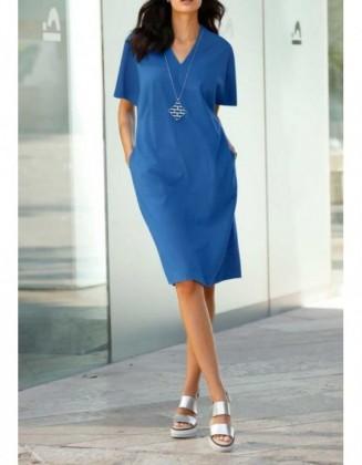 Laisvo silueto mėlyna suknelė