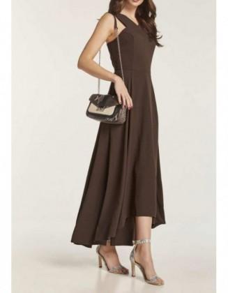 Ilga tamsiai ruda suknelė