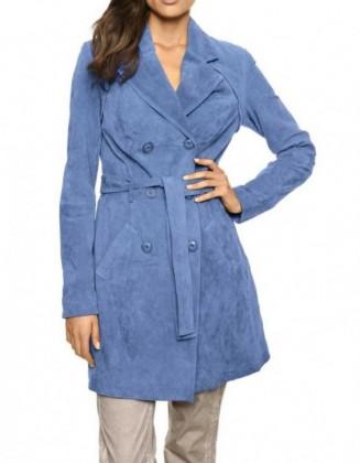 Mėlynas verstos odos paltas...