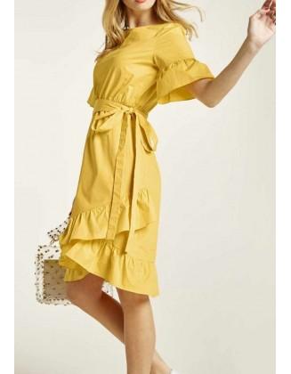 """Geltona suknelė """"Volant"""""""
