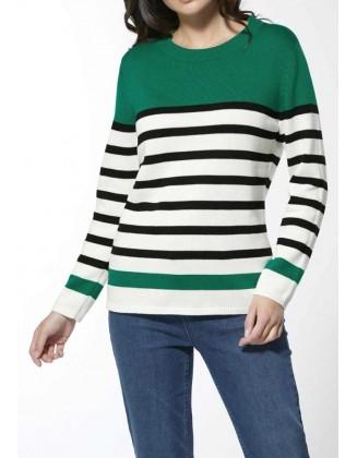 Žalias dryžuotas megztinis