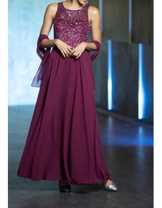 Vakarinė bordo spalvos suknelė