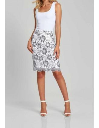 Pilkas sijonas su nėriniais