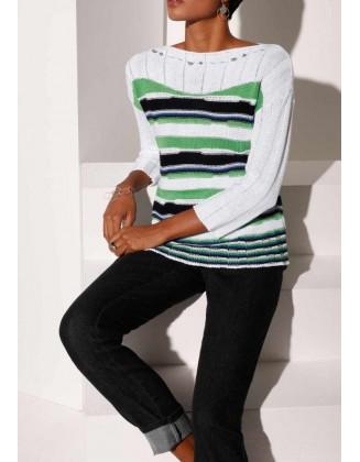 Dryžuotas žalias megztinis