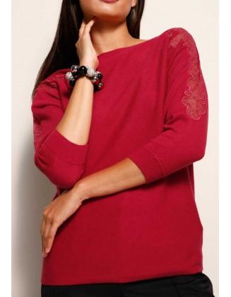 Raudonas megztinis su vilna ir šilku