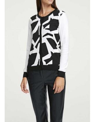 Juodai baltas megztinis su sagutėmis