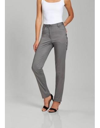 Pilkos siuvinėtos kelnės