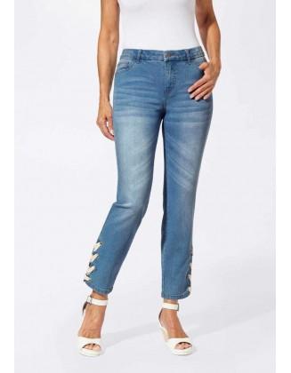 Didesnio dydžio mėlyni džinsai