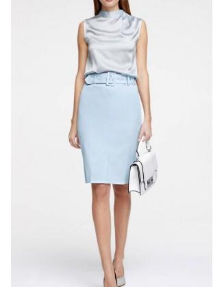Melsvas klasikinis sijonas