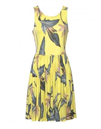 Geltona laisvalaikio suknelė