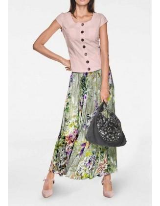 Žalias šilkinis sijonas