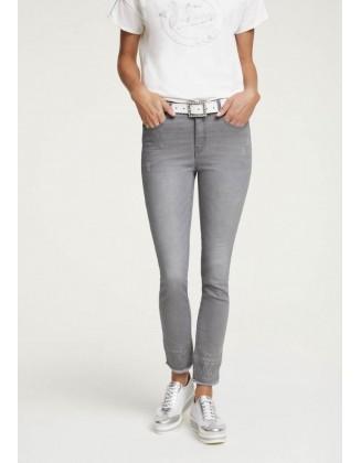 Pilki siuvinėti džinsai
