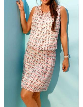 Suknelė su flamingų spauda
