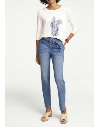 Mėlyni džinsai su diržu